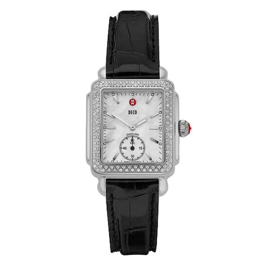 Deco Mid Diamond Black Alligator Watch MWW06V000005