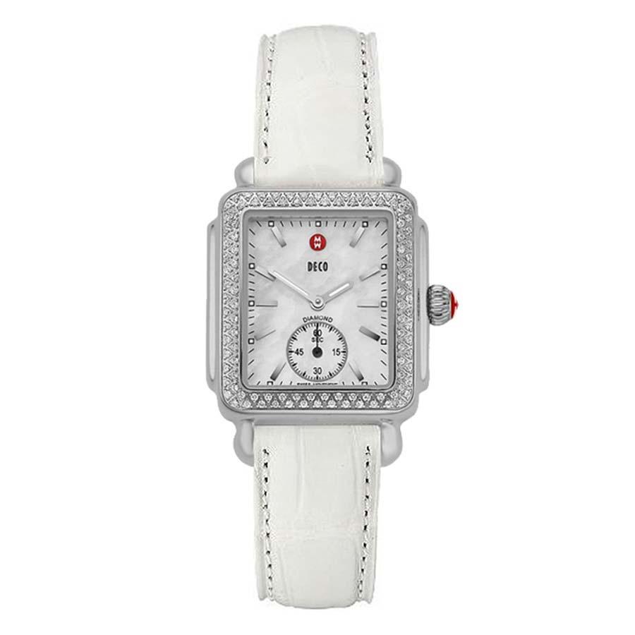 Deco Mid Diamond White Alligator Watch MWW06V000006