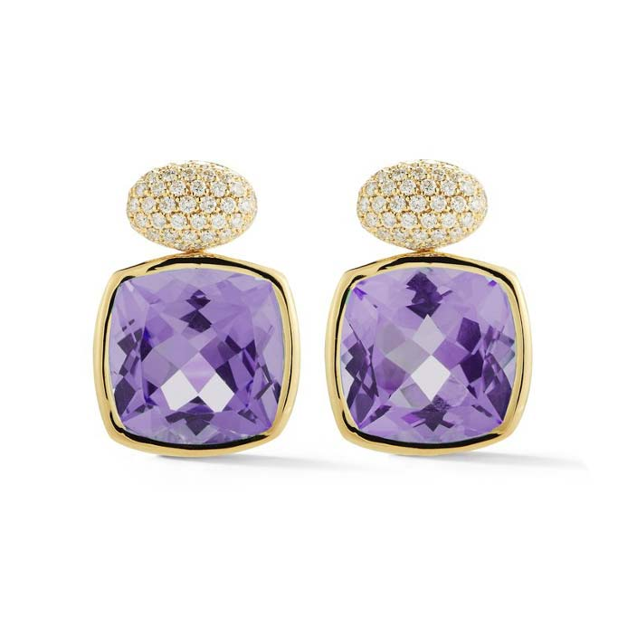 Gaia Drop Earrings with Amethyst and Diamonds O1713G1GA
