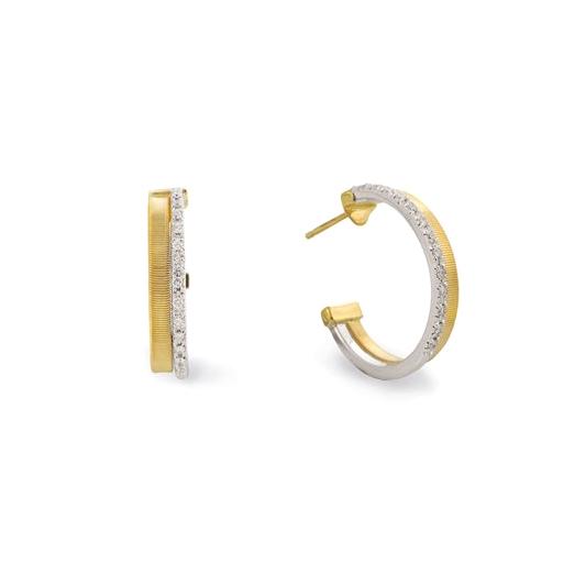 Two Row Pave Diamond Hoop Earrings OG337-B-YW
