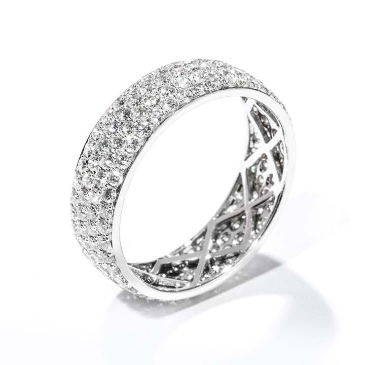 4 Row Pave Diamond Wedding Band R369F/18W/B