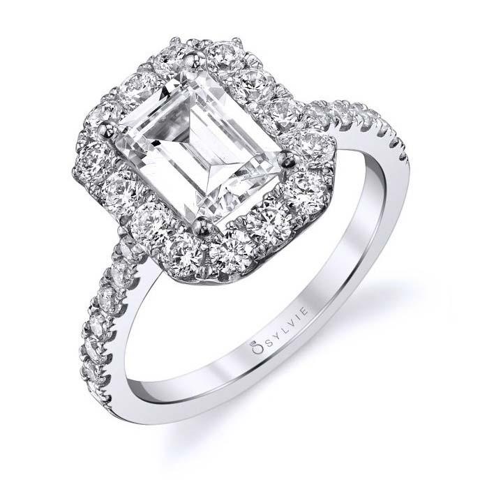 Sylvie S1299 Emerald Cut Halo Engagement Ring S1299-18KWEM
