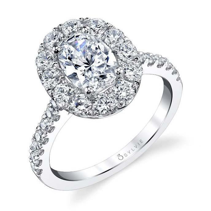 Sylvie S1299 Oval Shaped Halo Engagement Ring S1299-18KWOV