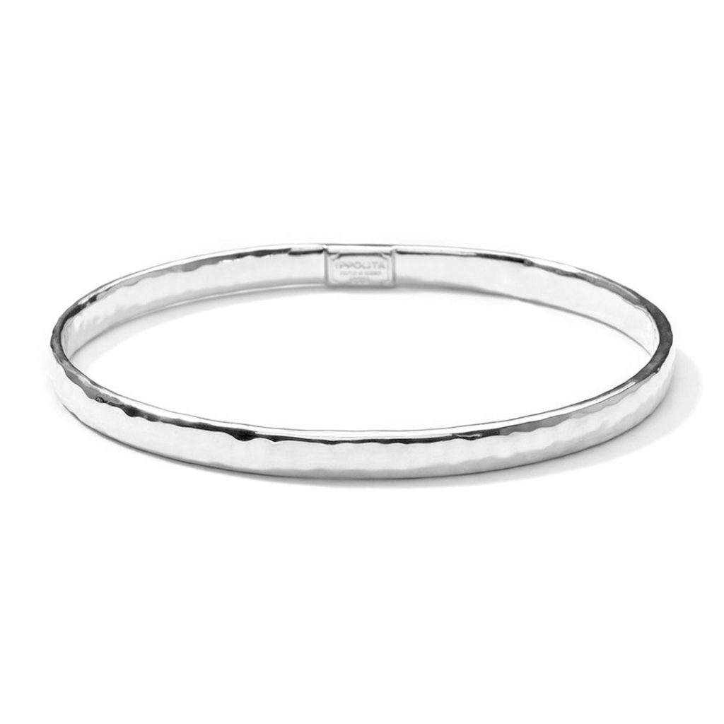 Classico Flat Hammered Bangle in Sterling Silver SB048