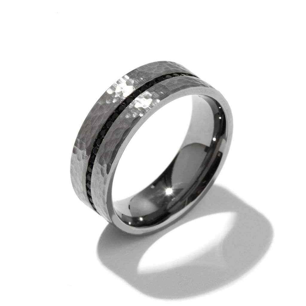 Simon G Lr2171 Hammer Finish Black Diamond Men S Wedding Band Zadok