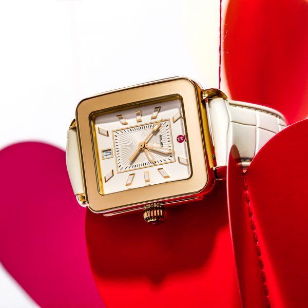 Deco Sport Gold Tone Vanilla Embossed Silicone Watch