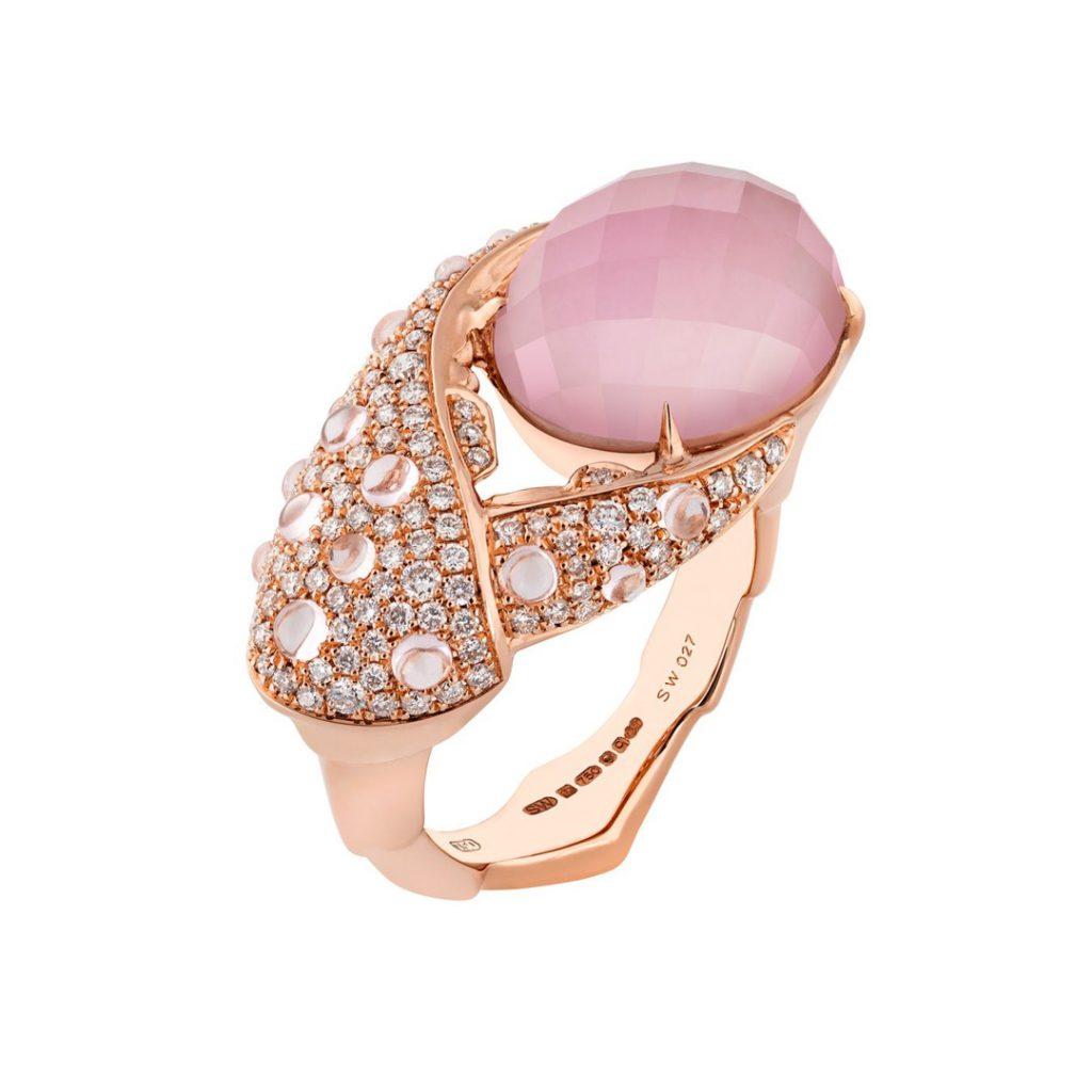 Crab Pincer Crystal Haze 18k Rose Gold and Pink Opal Ring WR0823 3018669