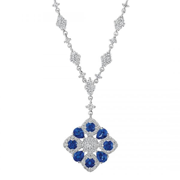 Zadok Collection 18k White Gold Sapphire Necklace CDNSA00449