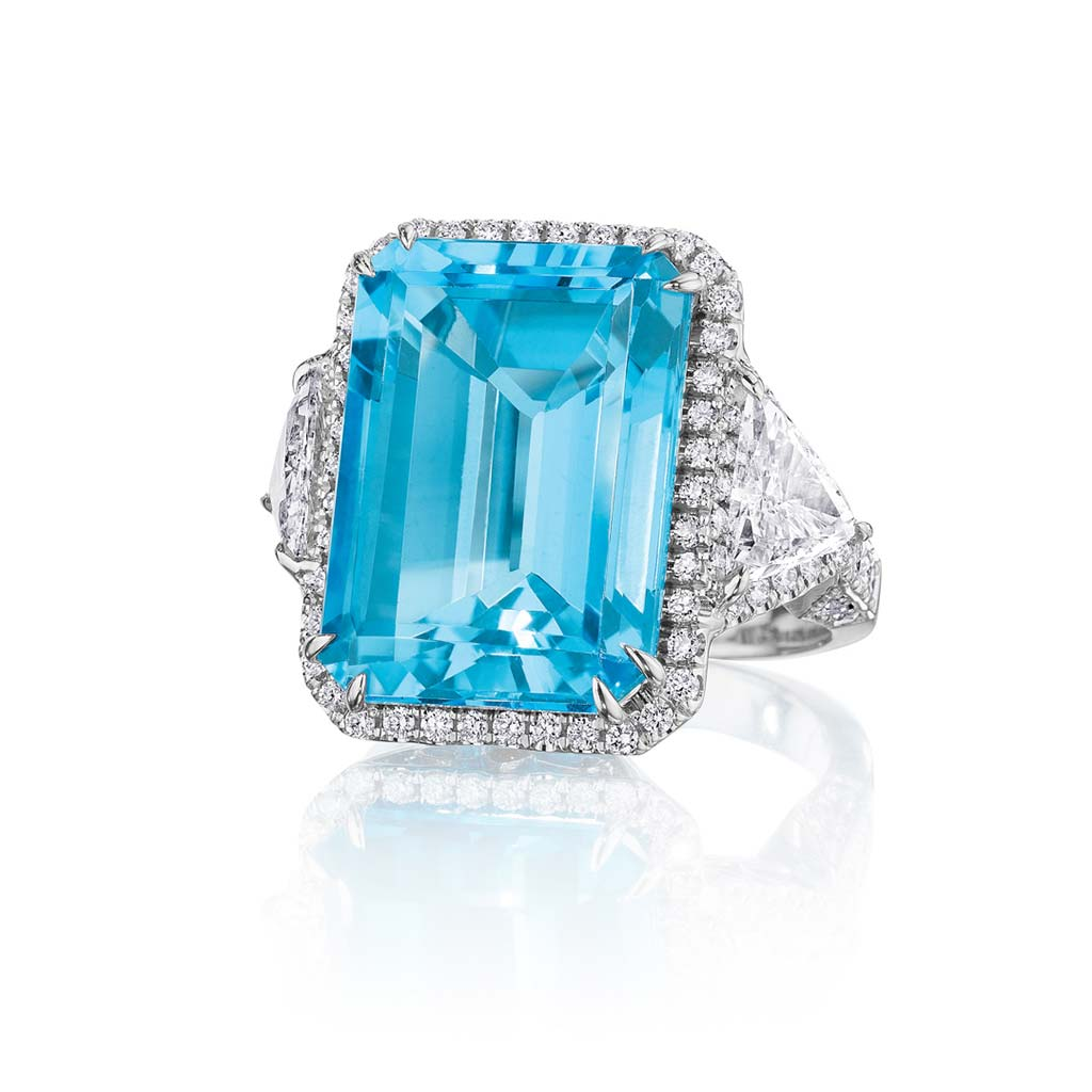 Zadok Collection 18k White Gold Blue Topaz Fashion Ring CDRTP00222
