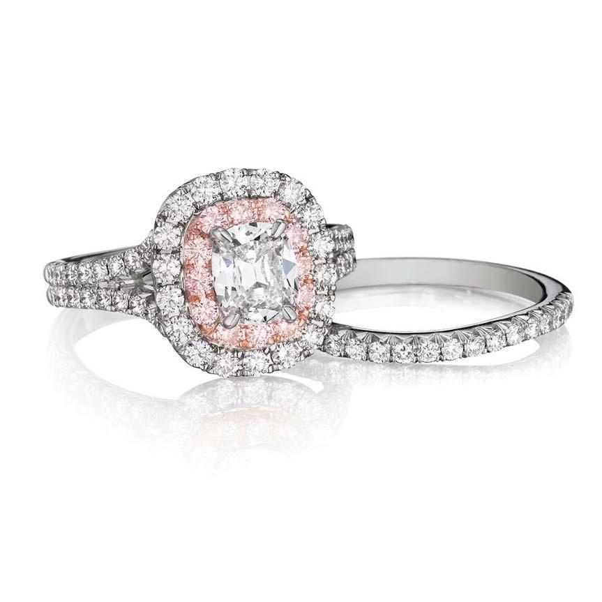 Henri Daussi 18k White Gold Diamond Engagement Ring ZQSP21-WBDS