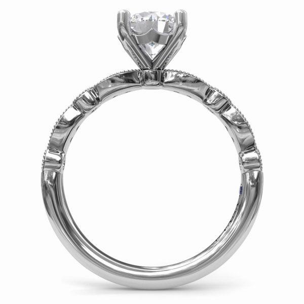 Scallop Diamond Engagement Ring