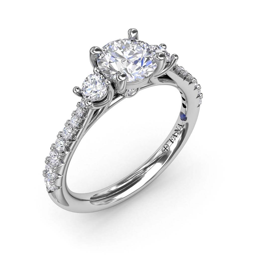 Cathedral Diamond Three Stone Engagement Ring