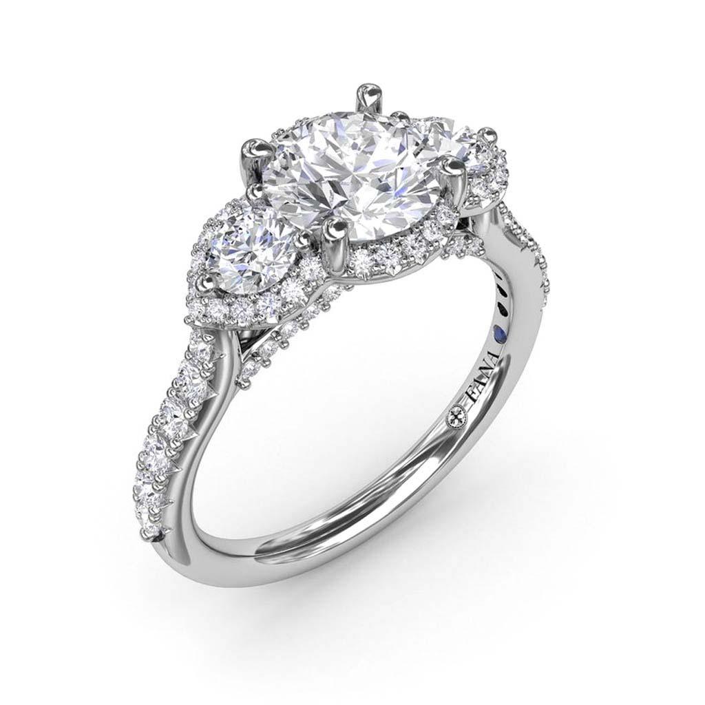 Halo Diamond Three Stone Engagement Ring