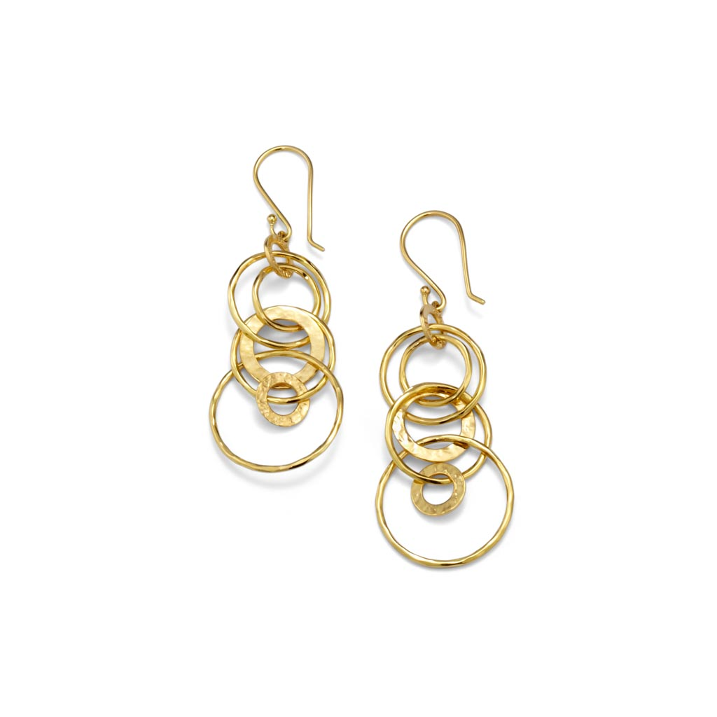 Classico Mini Hammered Jet Set Earrings in 18K Gold