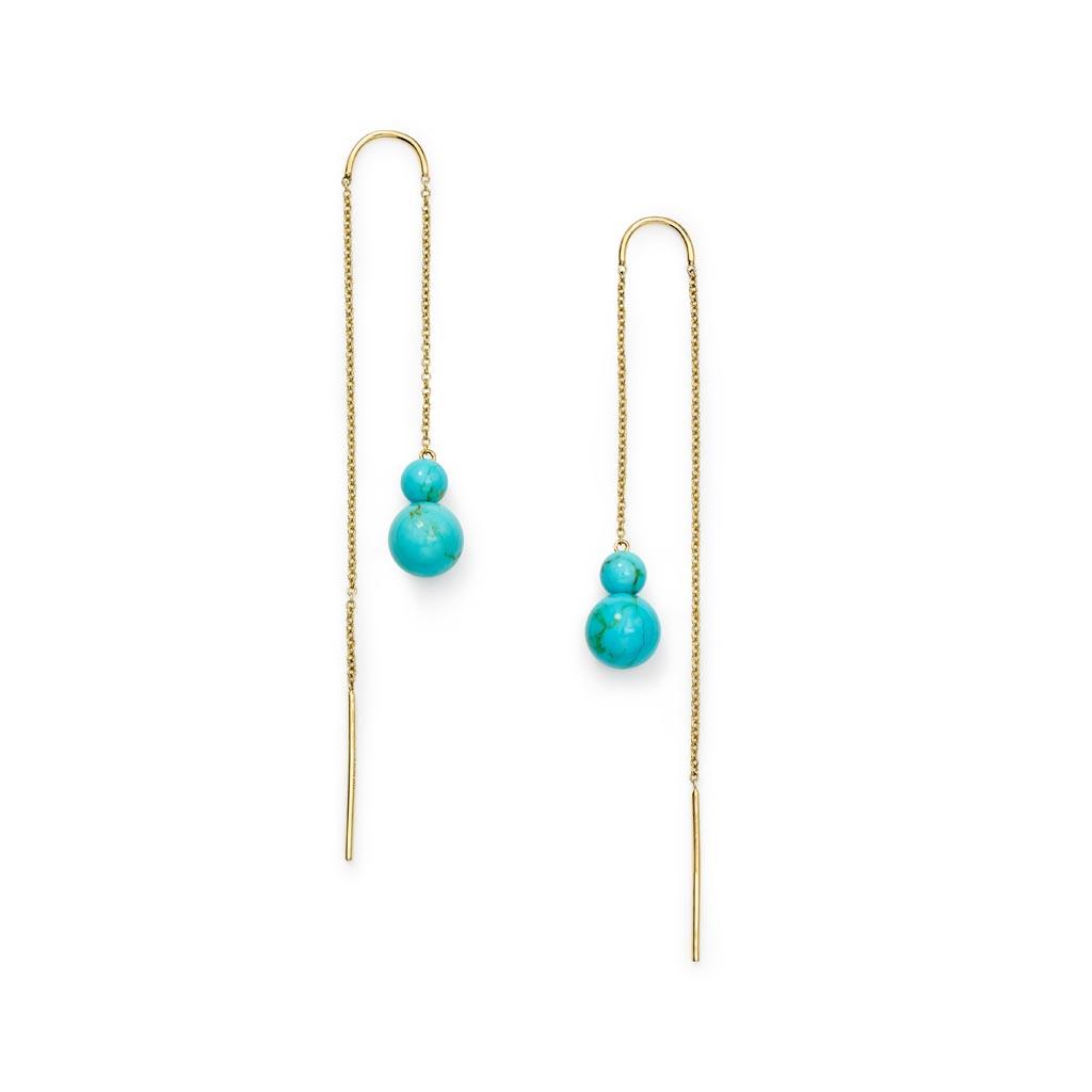 Nova 2-Stone Drop Thread Earrings in 18K Gold