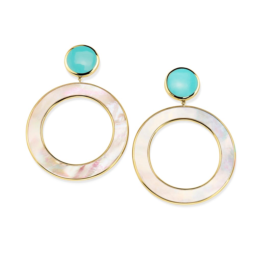 POLISHED ROCK CANDY Dot and Open Circle Earrings in 18K Gold