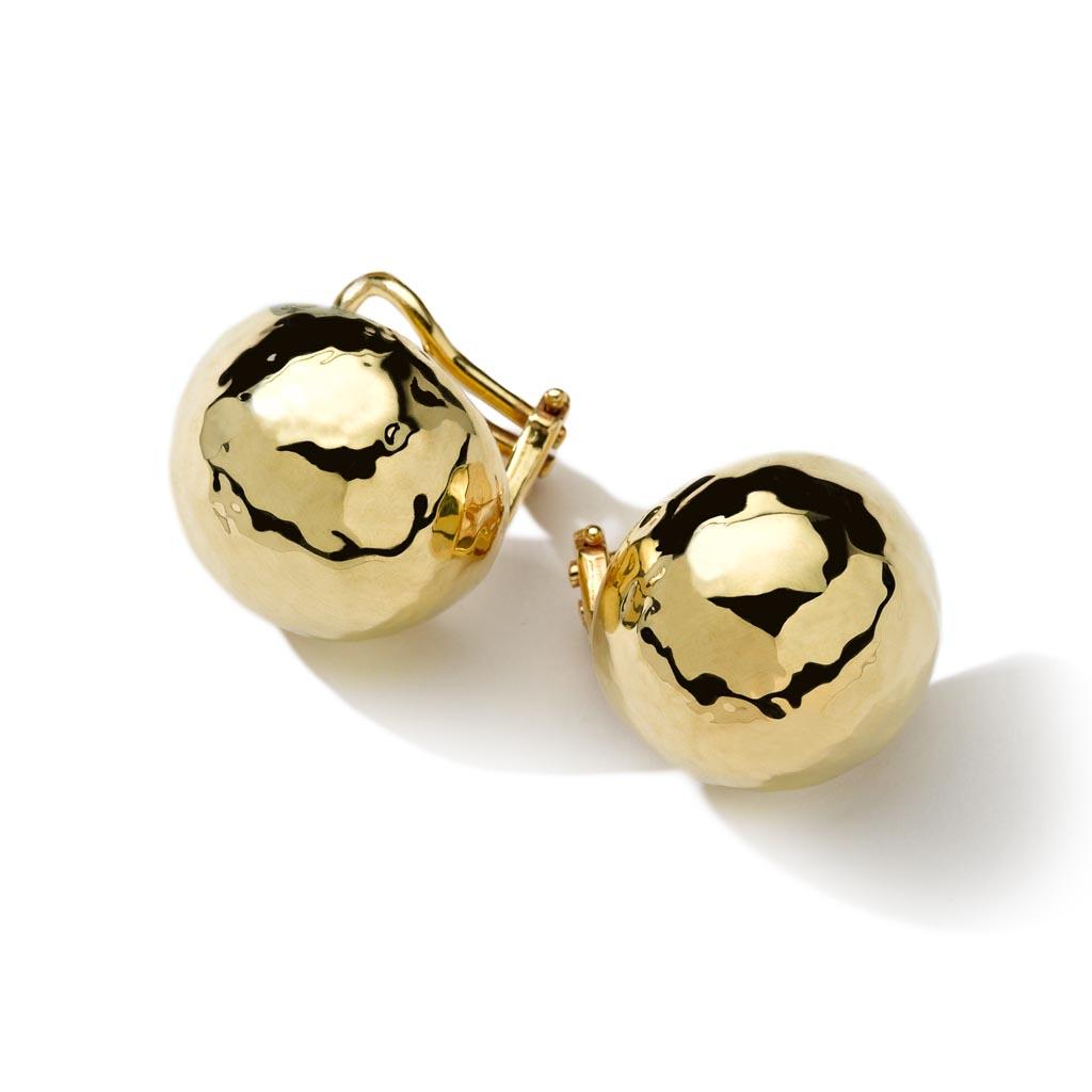 Classico Medium Hammered Pinball Clip Stud Earrings in 18K Gold