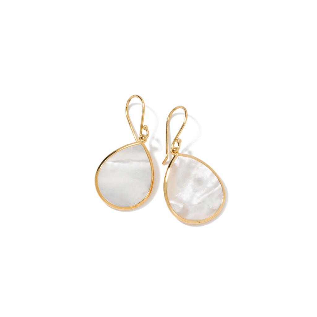 POLISHED ROCK CANDY Small Stone Teardrop Earrings in 18K Gold