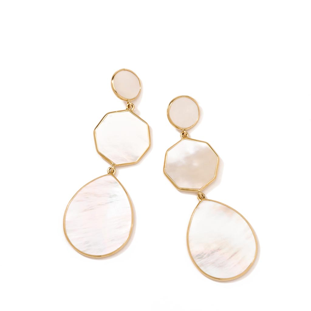 POLISHED ROCK CANDY Crazy 8s 3-Stone Drop Earrings in 18K Gold