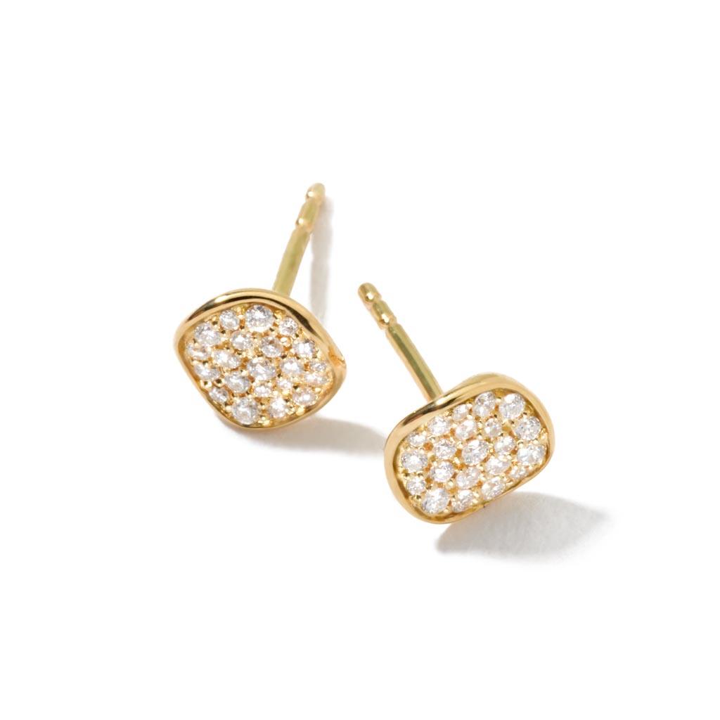 STARDUST Mini Flower Stud Earrings in 18K Gold with Diamonds