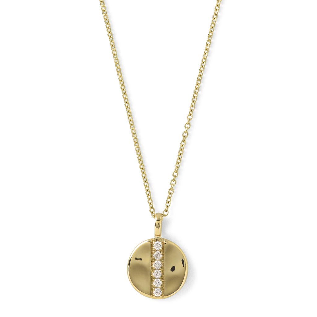 Stardust Mini Disc Pendant Necklace in 18K Gold with Diamonds