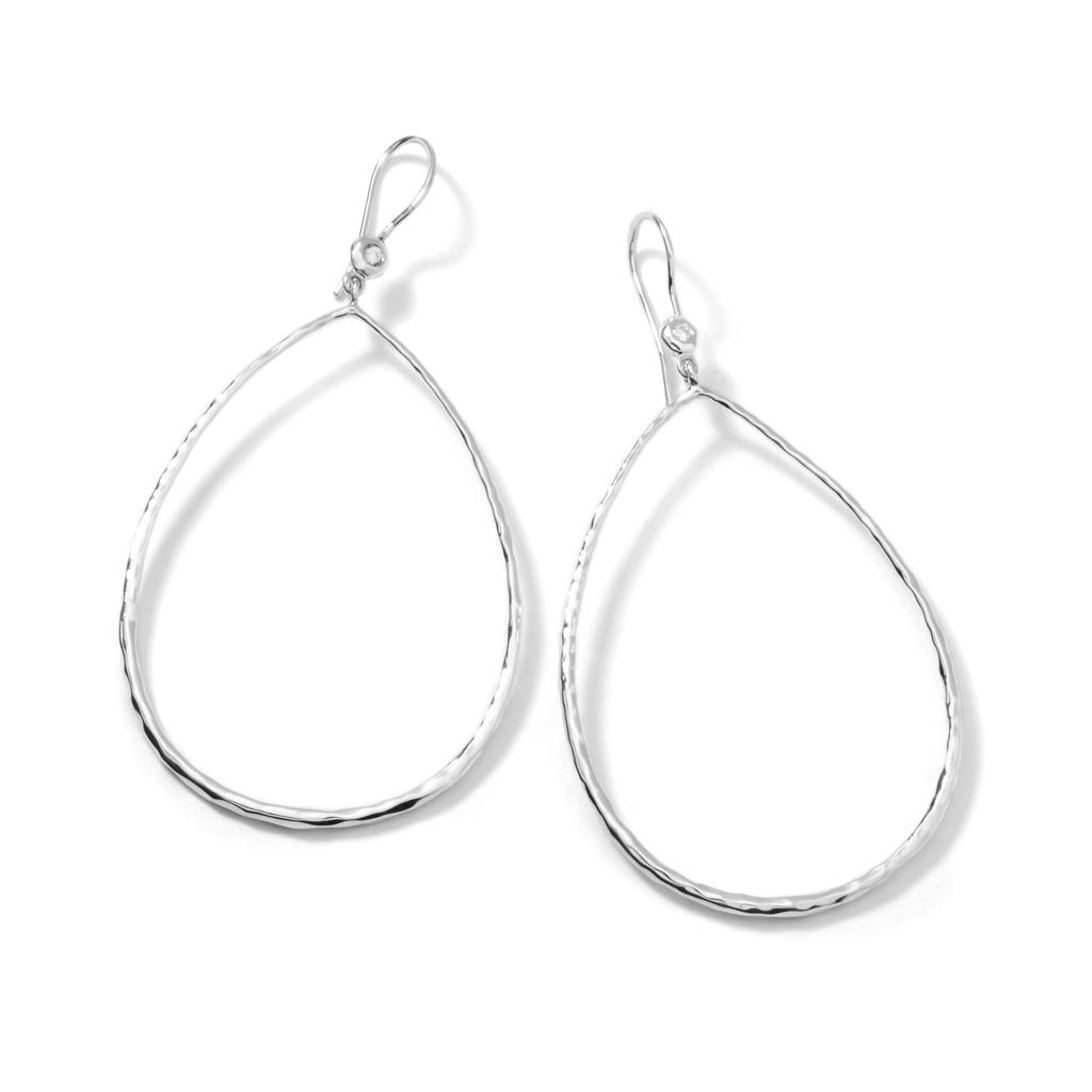 STARDUST Hammered Teardrop Earrings in Sterling Silver with Diamonds