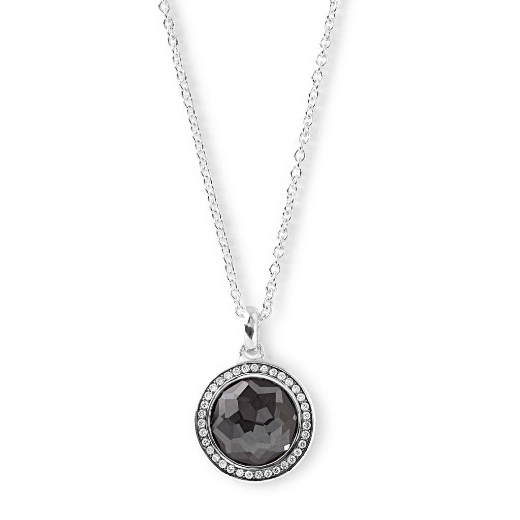 LOLLIPOP Mini Pendant Necklace in Sterling Silver with Diamonds