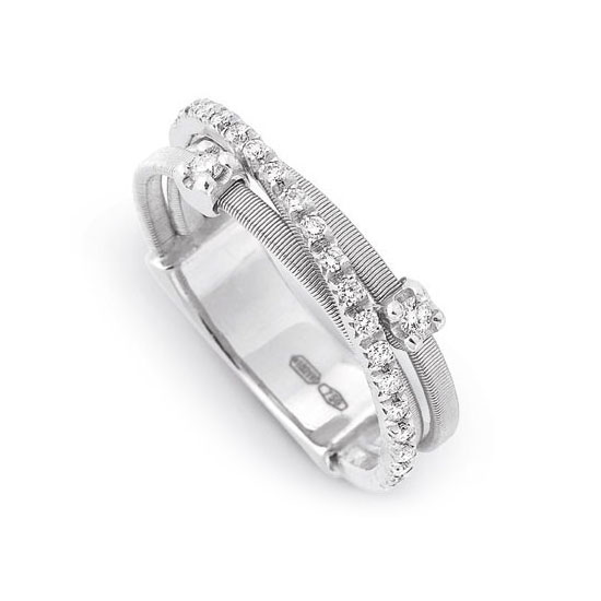 Goa Three Strand Diamond and Pave Ring In White Gold