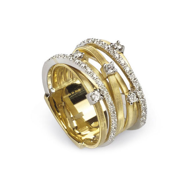 Goa Seven Strand Diamond and Pave Ring In Yellow Gold