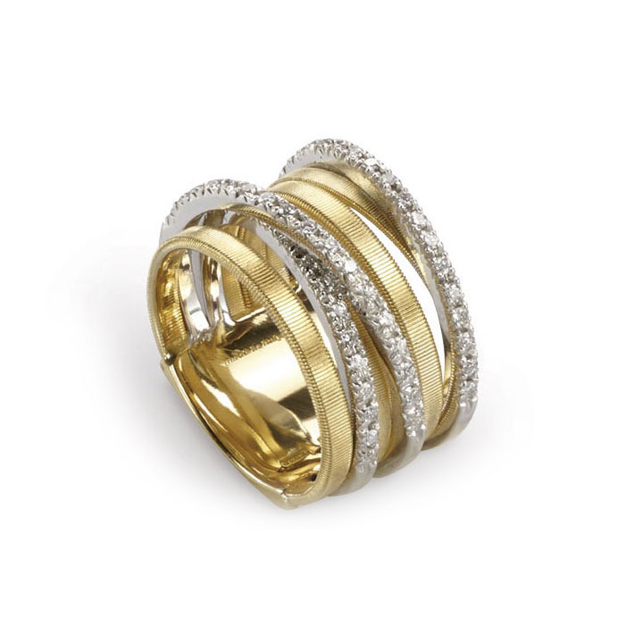 Goa Seven Strand Crossover Pave Diamond Ring In Yellow Gold