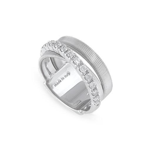 Masai Three Strand White Gold and Diamond Ring