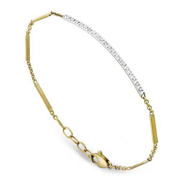 Goa Pave Diamond Bar Bracelet In Yellow Gold