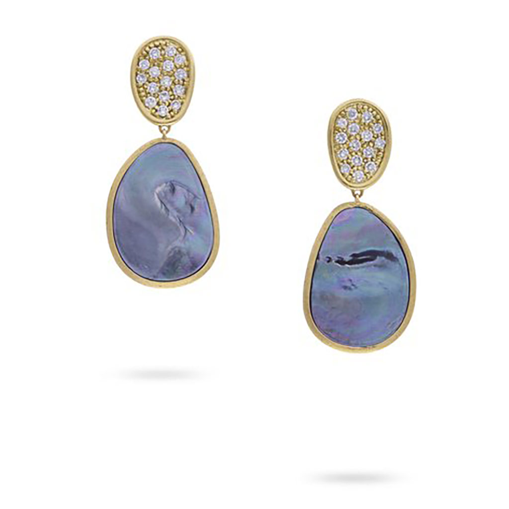 Lunaria Small Yellow Gold Black Mother of Pearl and Diamond Earrings