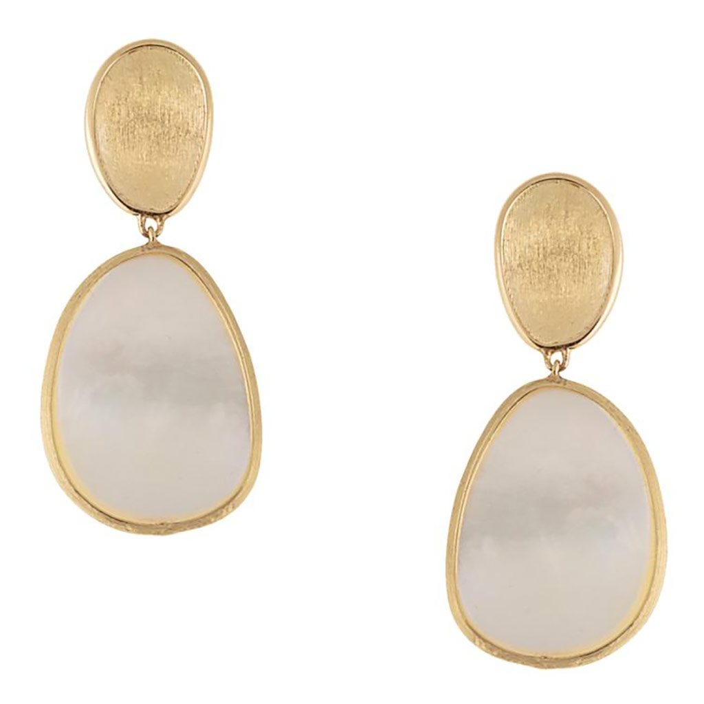 Lunaria Petite Gold and White Mother of Pearl Earrings