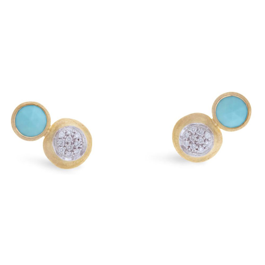 Jaipur Two Stone Stud with Turquoise and Diamonds
