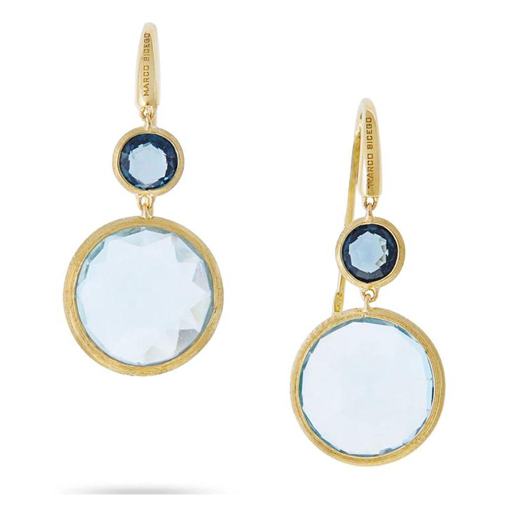 Jaipur Mixed Blue Topaz Drop Earrings