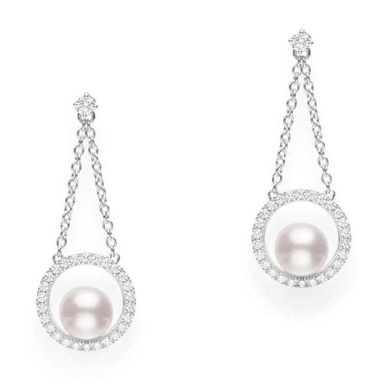 Classic Diamond and Akoya Pearl Earrings