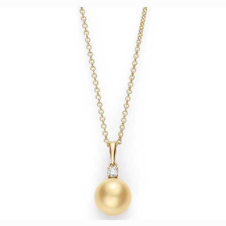 Everyday Essentials Diamond and Golden South Sea Pearl Pendant