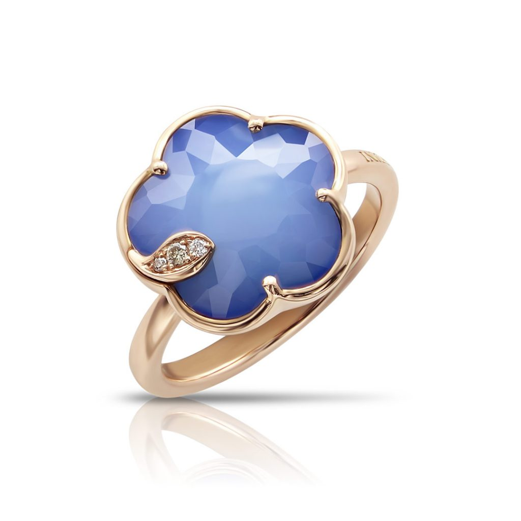 Rose Gold Petit Joli Ring With White Agate And Lapis Lazuli Doublet, White And Champagne Diamonds
