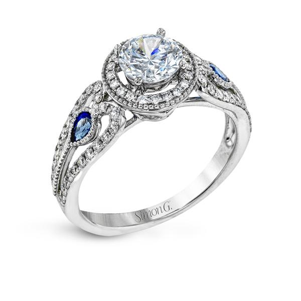 18K White Gold Engagement Ring 0.25Ct Sapphire 0.33Ct Diamond
