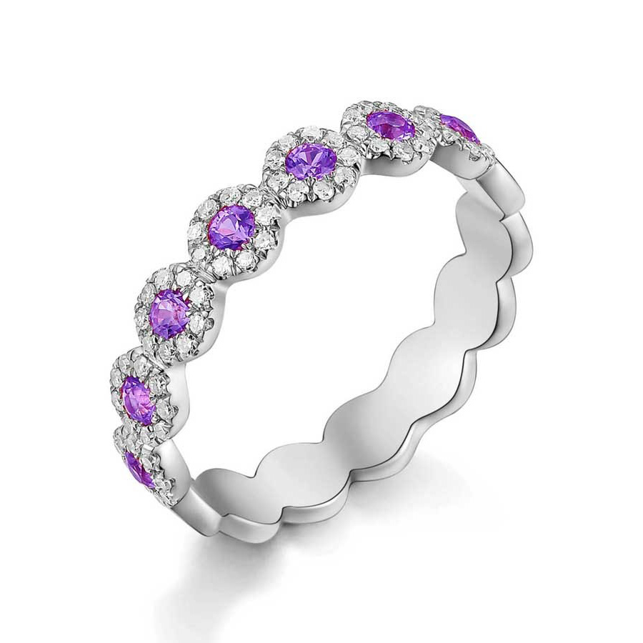 Pink Sapphire Halo Circle Ring White Gold