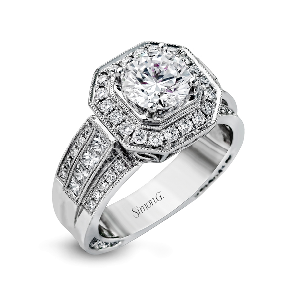 18K White Gold Engagement Ring 1.00Ct Diamond
