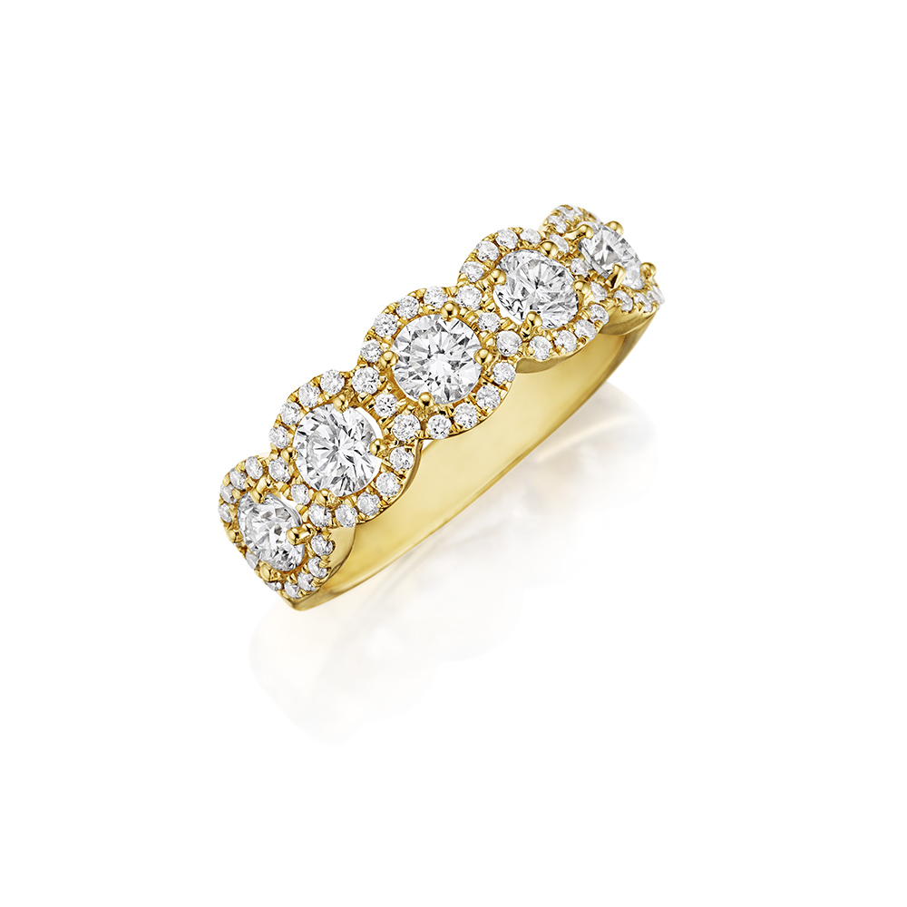 14k Yellow Gold 7 Stone Wedding Band 1.60ct Diamond