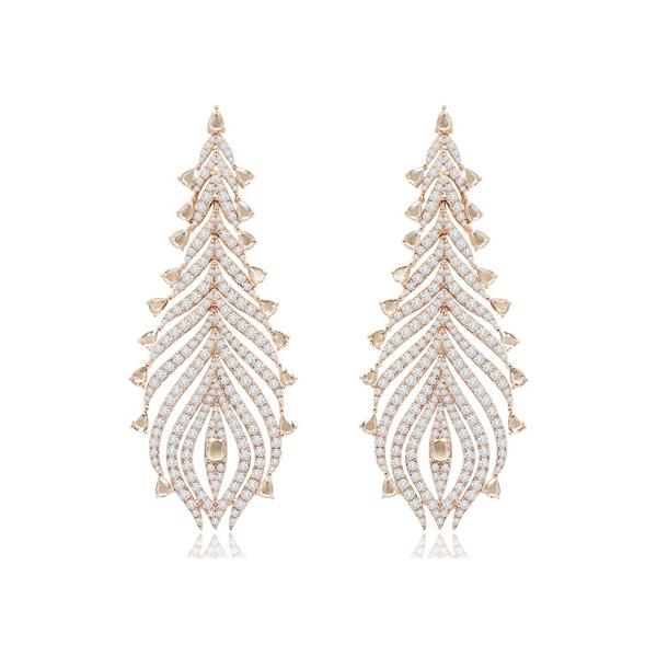 Rose Gold Diamond Weave Earrings