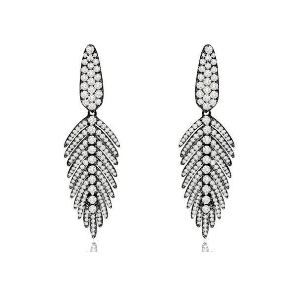Blackened Gold Diamond Feather Earrings