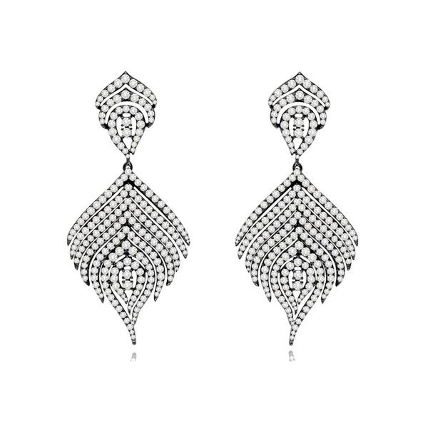 Blackened Gold Diamond Earrings