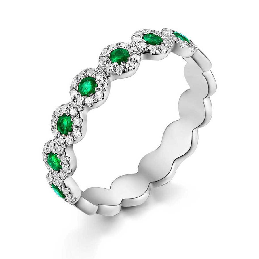 Emerald Halo Circle Ring W