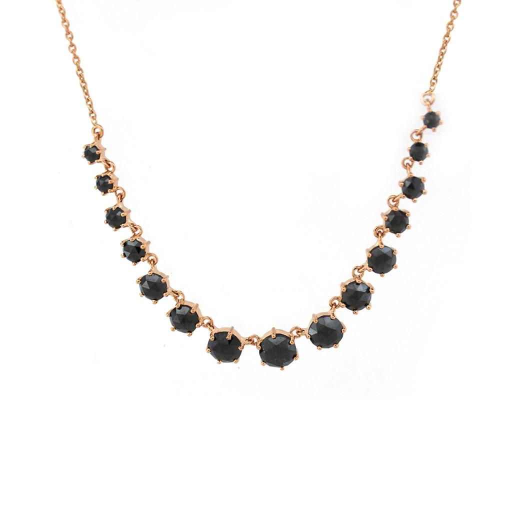 Six Prong Graduated Black Diamond Necklace