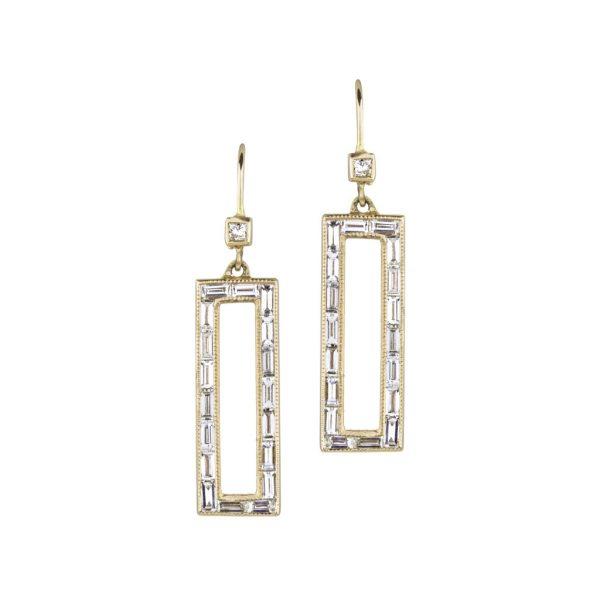 Art Deco Baguette Window Earrings