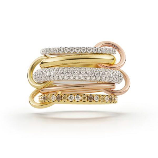 Leo Blanc Diamond and Champagne Diamond Ring